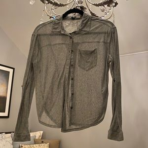 Grey thin jersey button down